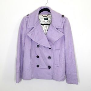 J. Crew Purple Lilac Wool Double Breasted Peacoat